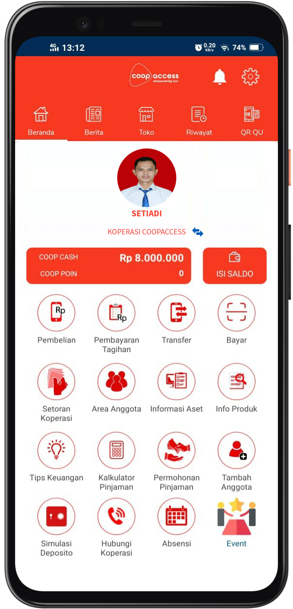 CoopAccess App Homepage
